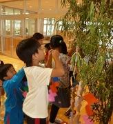 笹の葉に短冊をつける児童達の写真
